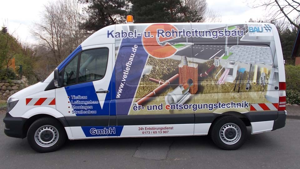 Vetiefbau - Fahrzeugbeschriftung - Fahrzeugfolierung | Gennat + Petersen Werbung
